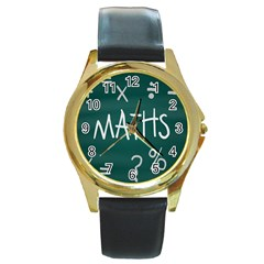 Maths School Multiplication Additional Shares Round Gold Metal Watch by Mariart
