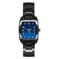 Rain Blue Sky Water Black Line Stainless Steel Barrel Watch by Mariart