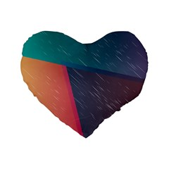 Modern Minimalist Abstract Colorful Vintage Adobe Illustrator Blue Red Orange Pink Purple Rainbow Standard 16  Premium Flano Heart Shape Cushions by Mariart