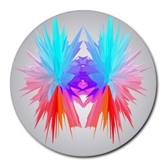 Poly Symmetry Spot Paint Rainbow Round Mousepads by Mariart