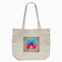 Poly Symmetry Spot Paint Rainbow Tote Bag (cream) by Mariart