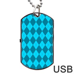 Plaid Pattern Dog Tag Usb Flash (one Side) by Valentinaart