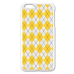 Plaid Pattern Apple Iphone 6 Plus/6s Plus Enamel White Case by Valentinaart