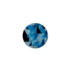 Plane And Solid Geometry Charming Plaid Triangle Blue Black 1  Mini Buttons by Mariart