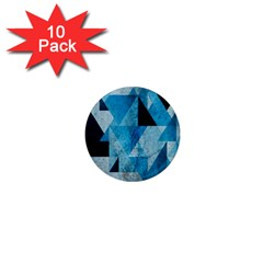 Plane And Solid Geometry Charming Plaid Triangle Blue Black 1  Mini Magnet (10 Pack)  by Mariart