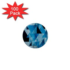 Plane And Solid Geometry Charming Plaid Triangle Blue Black 1  Mini Magnets (100 Pack)  by Mariart
