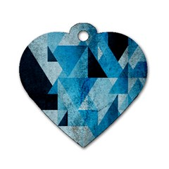 Plane And Solid Geometry Charming Plaid Triangle Blue Black Dog Tag Heart (one Side) by Mariart