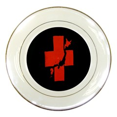 Sign Health Red Black Porcelain Plates by Mariart