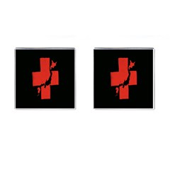 Sign Health Red Black Cufflinks (square) by Mariart