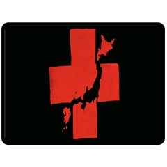 Sign Health Red Black Double Sided Fleece Blanket (large)  by Mariart