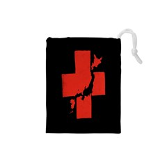 Sign Health Red Black Drawstring Pouches (small)  by Mariart