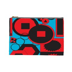 Stancilm Circle Round Plaid Triangle Red Blue Black Cosmetic Bag (large)  by Mariart