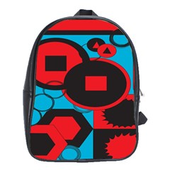 Stancilm Circle Round Plaid Triangle Red Blue Black School Bags (xl)  by Mariart