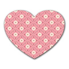 Sunflower Star White Pink Chevron Wave Polka Heart Mousepads by Mariart
