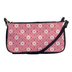 Sunflower Star White Pink Chevron Wave Polka Shoulder Clutch Bags by Mariart