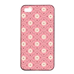 Sunflower Star White Pink Chevron Wave Polka Apple Iphone 4/4s Seamless Case (black) by Mariart