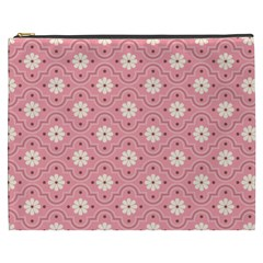 Sunflower Star White Pink Chevron Wave Polka Cosmetic Bag (xxxl)  by Mariart