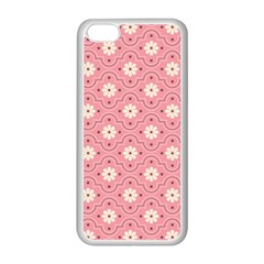 Sunflower Star White Pink Chevron Wave Polka Apple Iphone 5c Seamless Case (white) by Mariart