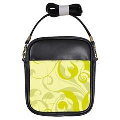 Floral Pattern Girls Sling Bags by Valentinaart