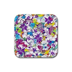 Lilac Lillys Rubber Square Coaster (4 Pack)  by designworld65