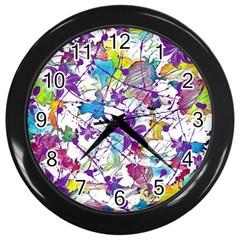 Lilac Lillys Wall Clocks (black) by designworld65