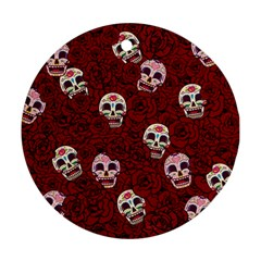 Funny Skull Rosebed Round Ornament (Two Sides) by designworld65