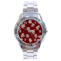 Funny Skull Rosebed Stainless Steel Analogue Watch by designworld65