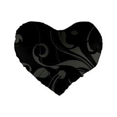 Floral Pattern Standard 16  Premium Heart Shape Cushions by Valentinaart