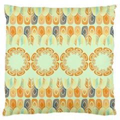 Ethnic Orange Pattern Large Flano Cushion Case (one Side) by linceazul