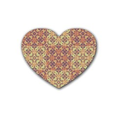 Vintage Ornate Baroque Rubber Coaster (heart)  by dflcprints