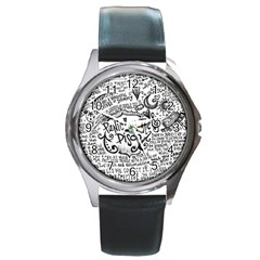 Panic! At The Disco Lyric Quotes Round Metal Watch by Onesevenart