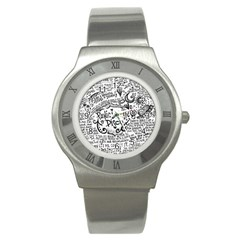 Panic! At The Disco Lyric Quotes Stainless Steel Watch by Onesevenart