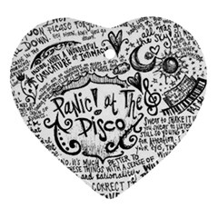 Panic! At The Disco Lyric Quotes Heart Ornament (two Sides) by Onesevenart