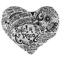Panic! At The Disco Lyric Quotes Large 19  Premium Flano Heart Shape Cushions by Onesevenart