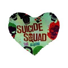 Panic! At The Disco Suicide Squad The Album Standard 16  Premium Heart Shape Cushions by Onesevenart