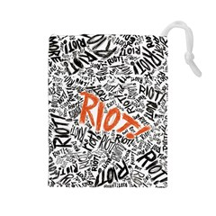 Paramore Is An American Rock Band Drawstring Pouches (large)  by Onesevenart