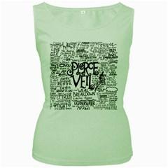 Pierce The Veil Music Band Group Fabric Art Cloth Poster Women s Green Tank Top by Onesevenart