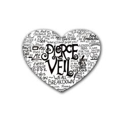 Pierce The Veil Music Band Group Fabric Art Cloth Poster Heart Coaster (4 Pack)  by Onesevenart