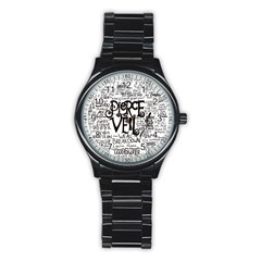 Pierce The Veil Music Band Group Fabric Art Cloth Poster Stainless Steel Round Watch by Onesevenart