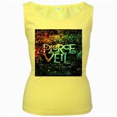 Pierce The Veil Quote Galaxy Nebula Women s Yellow Tank Top by Onesevenart