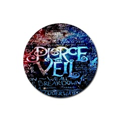 Pierce The Veil Quote Galaxy Nebula Rubber Round Coaster (4 Pack)  by Onesevenart