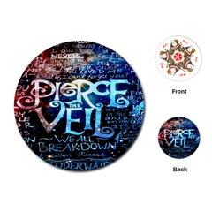 Pierce The Veil Quote Galaxy Nebula Playing Cards (round)  by Onesevenart