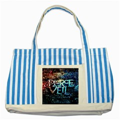 Pierce The Veil Quote Galaxy Nebula Striped Blue Tote Bag by Onesevenart