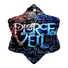 Pierce The Veil Quote Galaxy Nebula Ornament (snowflake) by Onesevenart