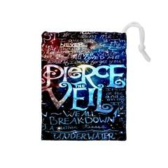 Pierce The Veil Quote Galaxy Nebula Drawstring Pouches (medium)  by Onesevenart