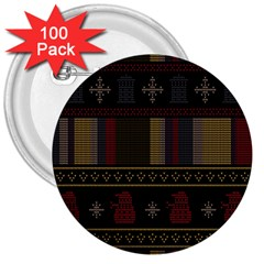 Tardis Doctor Who Ugly Holiday 3  Buttons (100 Pack)  by Onesevenart