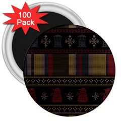Tardis Doctor Who Ugly Holiday 3  Magnets (100 Pack) by Onesevenart