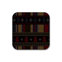 Tardis Doctor Who Ugly Holiday Rubber Square Coaster (4 Pack)  by Onesevenart