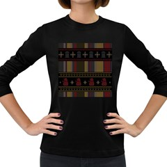 Tardis Doctor Who Ugly Holiday Women s Long Sleeve Dark T Shirts by Onesevenart