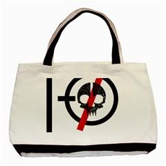 Twenty One Pilots Skull Basic Tote Bag by Onesevenart